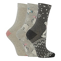 The Collection - 3 pack polar bear print cotton blend ankle socks