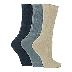 The Collection - 3 pack cable knit thermal high ankle socks