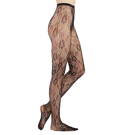 J by Jasper Conran - Black sheer all over lace tights