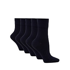 Debenhams - Pack of five navy comfort top socks