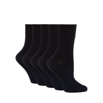 Pack of five black comfort top ankle socks