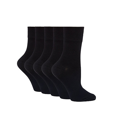 Debenhams - Pack of five black comfort top ankle socks