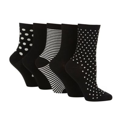 Pack of five black spotted and striped ankle socks