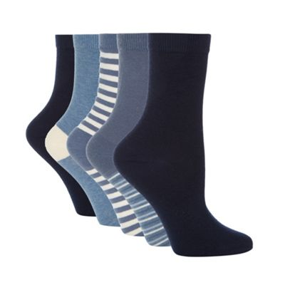 Pack of five blue striped ankle socks