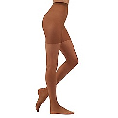 Debenhams - Pack of three bronze 15 Denier shine tights