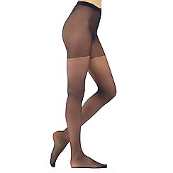 Debenhams - Pack of three navy 10 Denier matte look tights