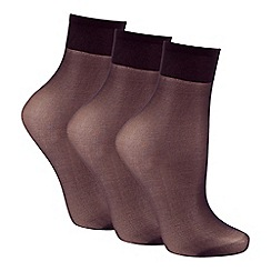 Debenhams - Pack of three black 10 Denier matte look ankle highs