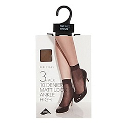 Debenhams - Pack of three bronze 10 Denier matte look ankle highs