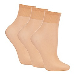 Debenhams - Pack of three natural 10 Denier matte look ankle highs
