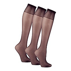 Debenhams - Pack of three black 10 Denier matte look knee highs