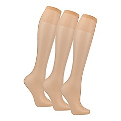 Debenhams - Pack of three natural 10 Denier matte look knee highs