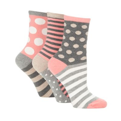 Pack of three peach striped and spotted socks