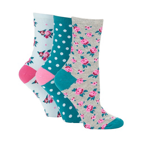 Debenhams - Pack of three grey floral and turquoise spotted ankle socks