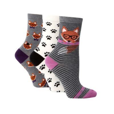 Pack of three grey cotton rich fox pattern ankle socks