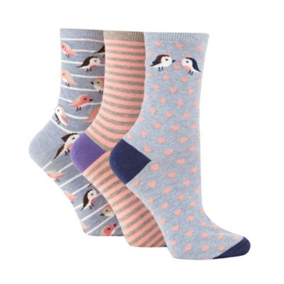 Pack of three grey cotton rich bird design ankle socks