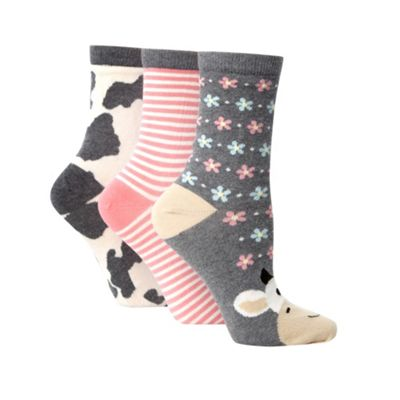 Pack of three grey cotton rich cow design ankle socks