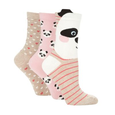 Pack of three beige panda printed socks