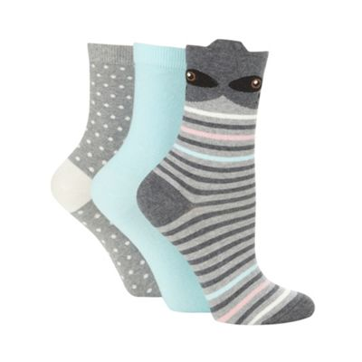 Pack of three dark grey racoon patterned socks