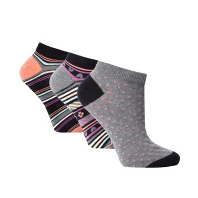 Pack of three black cotton rich striped trainer socks