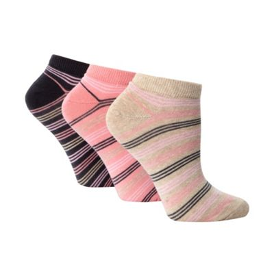 Pack of three pink cotton rich striped trainer socks