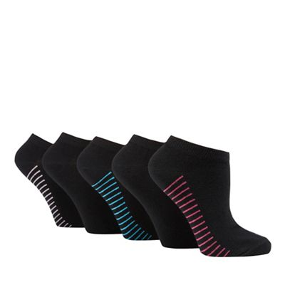 Pack of five black striped trainer socks
