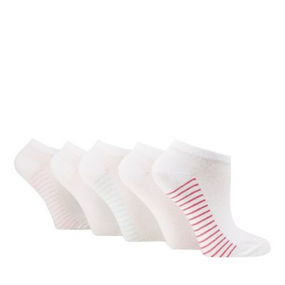 Pack of five white striped trainer socks