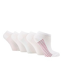Debenhams - Pack of five white striped trainer socks