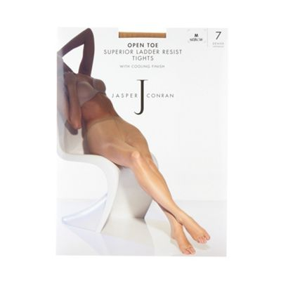 Designer light cream 7D sheer ladder resistant cooling finish open toe tights