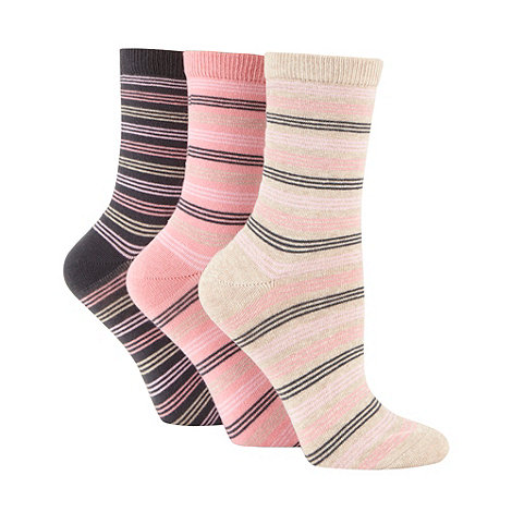 Debenhams - 3 Pack of dark peach striped socks