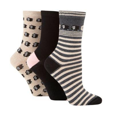 Pack of three dark grey sheep socks