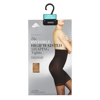 Cream 15D medium control high waisted invisible shaping tights