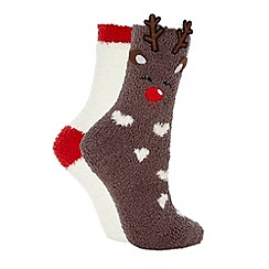 Lounge & Sleep - Set of two brown Christmas reindeer socks
