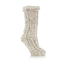 RJR.John Rocha - Designer cream flecked chunky slipper socks