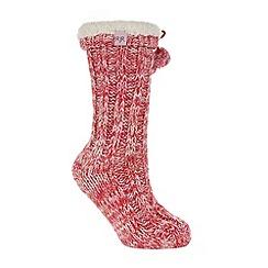 RJR.John Rocha - Designer red space dye slipper socks