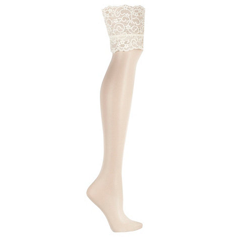 J by Jasper Conran - Ivory 10D sheer deep lace bridal stockings