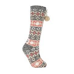 Iris & Edie - Beige fairisle slipper socks