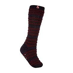 Iris & Edie - Dark purple chunky ribbed slipper socks