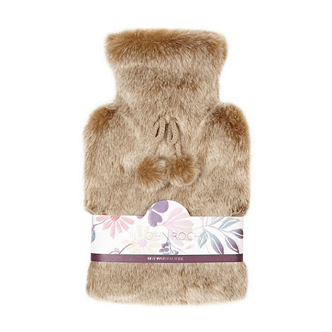 RJR.John Rocha - Designer light brown faux fur hot water bottle
