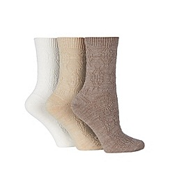 Debenhams - Pack of three beige thermal socks
