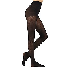Debenhams - Black zig zag pattern tights