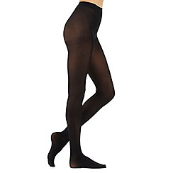 Debenhams - Black 300 Denier opaque tights with comfort waistband