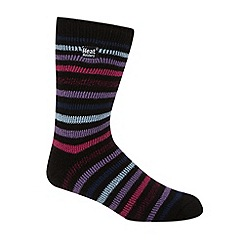 Heat Holders - Black striped knit short thermal socks