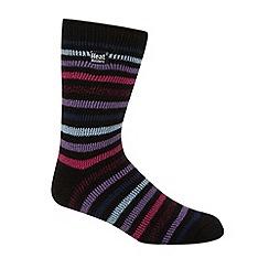 Heat Holders - Black striped knit short thermal socks
