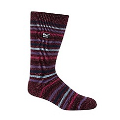 Heat Holders - Dark pink striped knit long thermal socks