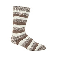 Heat Holders - Beige striped knit long thermal socks
