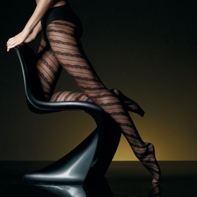 Black sheer spiral lace tights