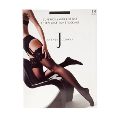 Near black 15D sheer sheen lace top ladder resistant stockings
