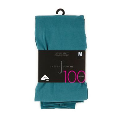 Dark green 100D opaque tights