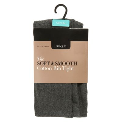 Grey opaque soft and smooth cotton rib tights