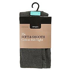 Debenhams - Grey opaque soft and smooth cotton rib tights